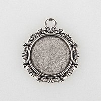 ARRICRAFT 10pcs Antique Silver Flat Round Tibetan Style Alloy Pendant Cabochon Bezel Settings Charm Blanks for Jewelry Making (18mm)