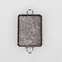 ARRICRAFT 10pcs Antique Silver Rectangle Tibetan Style Alloy Bracelet Connector Blanks Bezel Pendant Trays Cabochon Settings for Crafting DIY Jewelry Making