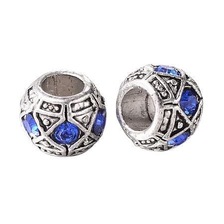 NBEADS 5 pcs Sapphire Large Hole Rondelle Beads Antique Silver Plated Alloy Rhinestone European Beads 10x8mm, Hole: 5mm