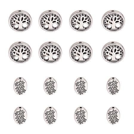PandaHall Elite 60pcs Antique Silver Oval & Round Tibetan Alloy Tree of Life Family Spacer Beads Jewelry Findings for Bracelet Necklace Jewelry Making