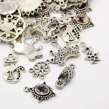 ARRICRAFT About 500g Tibetan Style Cabochon Settings for Bracelet Necklace Earrings Jewelry Making Crafts, Nickel Free, Mixed Shapes, Antique Silver, 11~78.5x9.5~67x2~14mm, Hole: 2~14mm