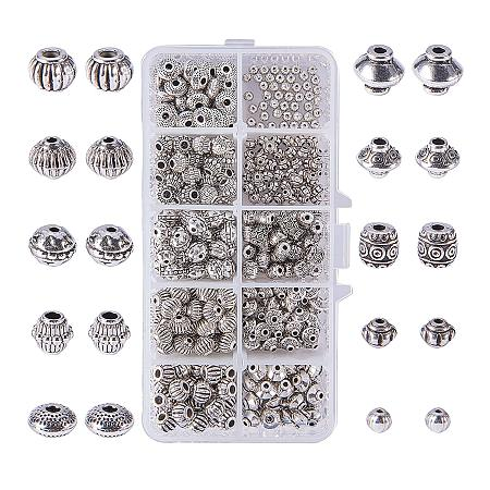 PandaHall Elite 450pcs 10 Styles Antique Silver Tibetan Alloy Bicone Barrel Spacer Beads Jewelry Findings Accessories Bracelet Necklace Making