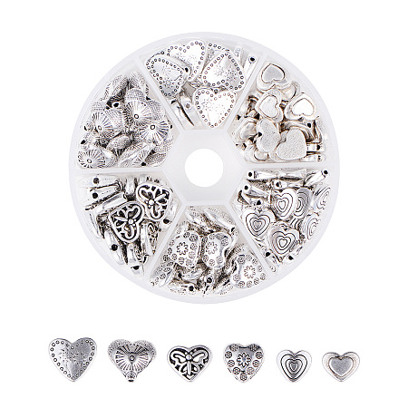 Tibetan Style Alloy Beads, Heart, Antique Silver, Containers: 8x2cm; 124pcs/box