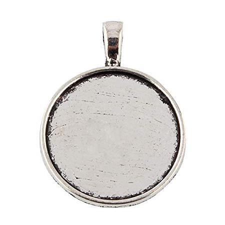 ARRICRAFT 10pcs Tibetan Style Alloy Flat Round Pendant Cabochon Settings Antique Silver 37x28x2mm
