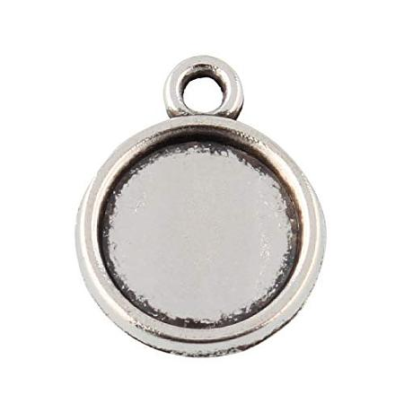 ArriCraft 50pcs Tibetan Style Alloy Flat Round Pendant Cabochon Settings for Pendant Necklace Jewelry Making Antique Silver Tray: 8mm Hole: 1mm