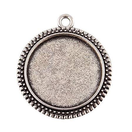 ARRICRAFT 10pcs Tibetan Style Antique Silver Alloy Flat Round Pendant Cabochon Settings 29x25.5x2mm