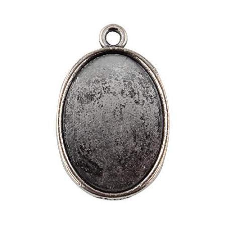 ARRICRAFT 10pcs Tibetan Style Antique Silver Alloy Flat Oval Pendant Cabochon Settings 32x20.5x2mm