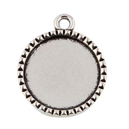 ARRICRAFT 10pcs Tibetan Style Alloy Flat Round Pendant Cabochon Settings Antique Silver 26x22x2.5mm