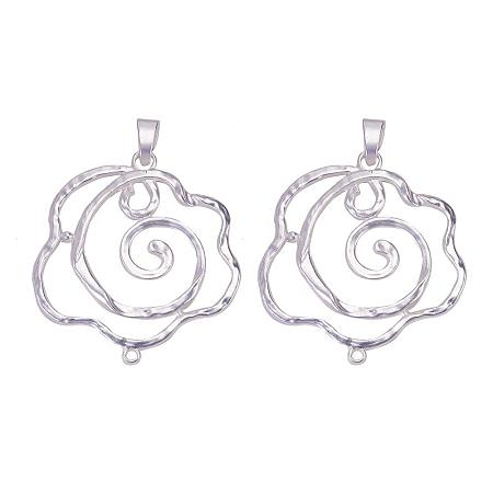 SUNNYCLUE 1 Box 2pcs 925 Sterling Silver Plated Big Rose Flower Link Charm Pendant Connector 72.5x68.5mm for DIY Jewelry Making Findings