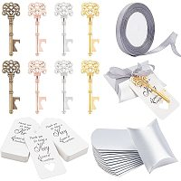 NBEADS 60 Pcs Alloy Key Bottle Openers in 4 Colors, with 60 Pcs Paper Pillow Boxes, 60 Pcs Paper Display Cards and 1 Roll 22m Polyester Organza Ribbon for Wedding Party Favor