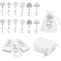NBEADS 60 Pcs Alloy Key Bottle Openers in 6 Styles, with 60 Pcs Paper Display Cards and 60 Pcs Organza Bags for Wedding Party Favor Rustic Decoration