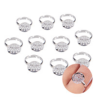 PandaHall Elite 10 Pcs Adjustable Ring Base Blanks with 14mm Flat Glue on Pad Silver