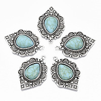Nbeads  Tibetan Style Alloy Pendants, with Synthetic Turquoise, Cadmium Free & Lead Free, Teardrop, Antique Silver, 36.5x25x6mm, Hole: 1.8mm