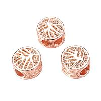 NBEADS 50 Pcs Rose Gold Color Brass Tree of Life Micro Pave Cubic Zirconia Beads Flat Round Loose Spacer Beads for Bracelet Necklace Jewelry Making