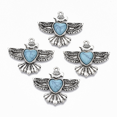 Nbeads  Tibetan Style Alloy Pendants, with Synthetic Turquoise, Cadmium Free & Lead Free, Glide, Antique Silver, 28.5x34.5x6mm, Hole: 1.8mm