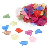 ARRICRAFT 962Pcs Transparent Frosted Style Maple Leaf Acrylic Charms Pendants Size 24x22.5x3mm Mixed Color