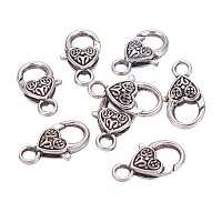 NBEADS 50 Pcs Antique Silver Tibetan Style Heart Lobster Claw Clasps Lead & Cadmium Free for Necklace Bracelet Chain Jewelry Findings DIY Handmade Crafts