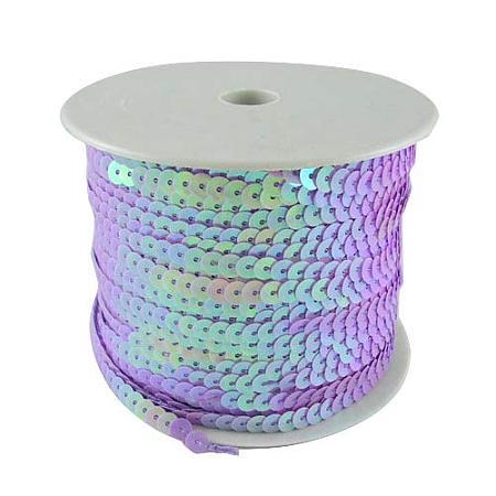 Arricraft 5 Rolls 6mm Wide 100yards AB-Color Flat Spangle Paillette Sequin Trim Spool String Beads for Dress Embellish Headband Costume, Purple