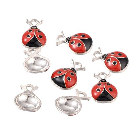 NBEADS 200Pcs Alloy Enamel Pendants, Ladybug, Lead Free and Cadmium Free, Red and Black, Platinum, about 17.5mm long, 12.5mm wide, 4mm thick, hole:2mm