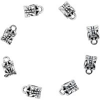 Pandahall Elite 100pcs Alloy Hollow Cup Bail Beads Tibetan Style Hanger Links Antique Silver Connector Beads with Loop for Charm Bracelet Pendant Making
