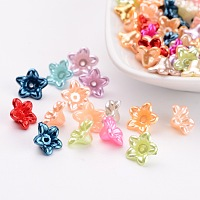 Nbeads Imitated Pearl Acrylic Beads, Dyed, Flower, 10x5mm, Hole: 1mm