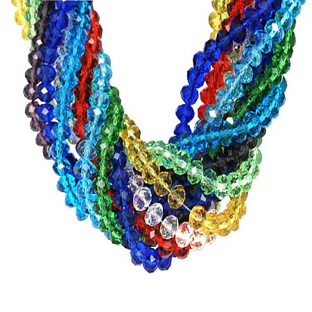 ARRICRAFT 10 Strands 8x6mm Mixed Color Imitate Austrian Crystal Handmade Glass Beads Faceted Abacus, About 72pcs/Strand
