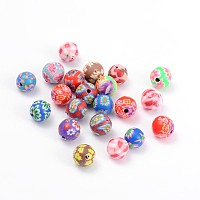 Handmade Polymer Clay Beads, Round, Mixed Color, about 8mm in diameter, hole: 1mm