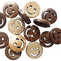 Pandahall Elite 100pcs 2 Holes Buttons Coconut Buttons Smile Face Carved for Sewing Fasteners Scrap Booking Crafts Crochet Manual Button Painting Handmade Ornament DIY Projects