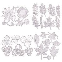 Gorgecraft Carbon Steel Cutting Dies Stencils, for DIY Scrapbooking/Photo Album, Decorative Embossing DIY Paper Card, Flower & Leaf, Matte Platinum Color, 4pcs/set