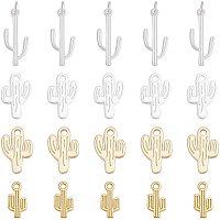 Alloy Big Pendants, Matte Style, Cadmium Free & Lead Free, Cactus, Mixed Color, 68x52x11mm, 15~27.5x8~12x1.5~2mm, Hole:2mm, 20pcs/box