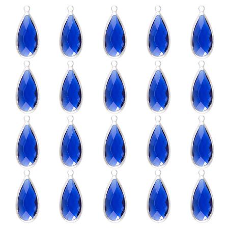 Olycraft Brass Glass Pendants, Faceted, Teardrop, Platinum, Blue, 23.5x10.5x4.5mm, Hole: 2mm 20pc/box