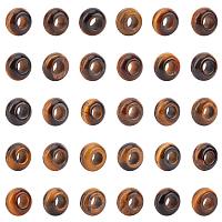 Natural Tiger Eye European Beads, Large Hole Beads, Rondelle, 14x8mm, Hole: 6mm, 30pcs/box