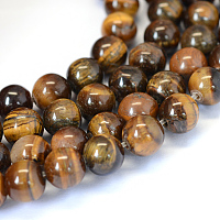 ARRICRAFT Grade AB Natural Tiger Eye Round Bead Strands, 6~6.5mm, Hole: 1mm, about 63pcs/strand, 15.5 inches