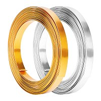 Aluminum Wire, Flat, Mixed Color, 10x1mm; about 5m/roll; 2 colors, 1roll/color, 2rolls/box