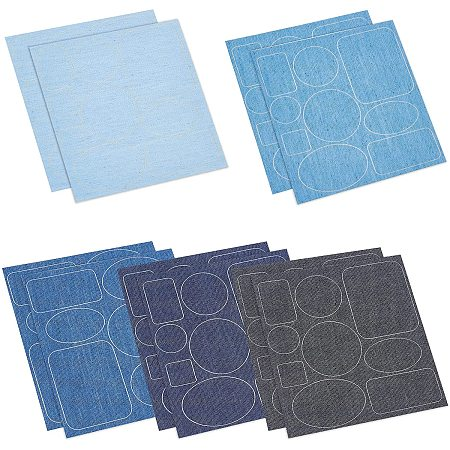 Denim Self-adhesive Patches, Round, Oval, Square & Rectangle Shaped, Mixed Color, 15x14x0.03cm, 5pcs/set