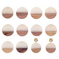 Olycraft Resin & Wood Pendants, Flat Round, Creamy White, 28.5x3.5~4mm, Hole: 1.5mm, 10pcs/box
