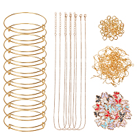DIY Jewelry Set, with Alloy Enamel Charms, Iron Bangle Making & Cable Chains Necklace Makings & Earring Hooks, Golden