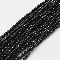ARRICRAFT Natural Black Spinel Beads Strands, Round, Faceted, 2mm, Hole: 0.5mm, about 197pcs/strand, 15.7 inches(40cm)