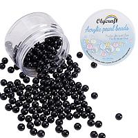 Olycraft Environmental Plastic Imitation Pearl Beads, High Luster, Grade A, No Hole Beads, Round, Black, 8mm; 200pcs/box