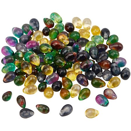 Transparent Glass Beads, Teardrop, Mixed Color, 6~7x4~5mm, Hole: 1mm, about 100pcs/box