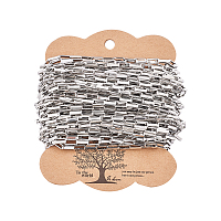 304 Stainless Steel Venetian Chains, Box Chains, Flat Oval, Drawn Elongated Cable Chains, with Cardboard Display Cards, Unwelded, Stainless Steel Color, Link: 8x3x1.5mm; about 10m