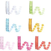 SUPERFINDINGS Glitter Powder Polyester Ribbons, Flower, Colorful, 5/8 inch(17mm); about 2yards/roll(1.8288m/roll), 7 colors, 1roll/color, 7rolls/set