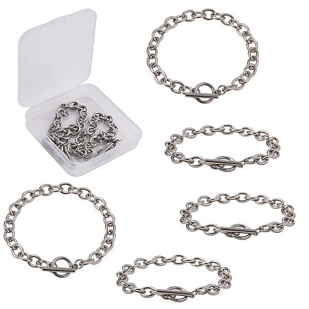 SUNNYCLUE Unisex Stainless Steel Cable Chain Bracelets, with Toggle Clasps, Stainless Steel Color, 8-1/2 inches(21.5cm); 8.2mm; 5pcs/box