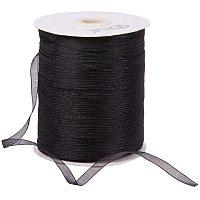 Organza Ribbon, Galloon, Black, 1/4 inch(6mm); 500yards/Roll(457.2m/Roll)