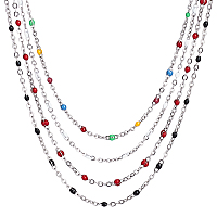 304 Stainless Steel Cable Chain Necklaces, with Enamel Links and Lobster Claw Clasps, Solder, Mixed Color, 17.7 inches(45cm); 1.7~2.5mm; 4pcs/set