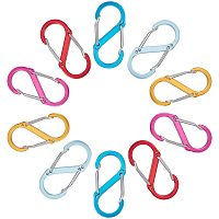 Gorgecraft Aluminium Rock Climbing Carabiners, Key Clasps, for Camping Hiking Fishing Traveling Backpack Bottle, S Shape, Mixed Color, 50.5x23x8mm; 5 colors, 2pcs/color, 10pcs/set