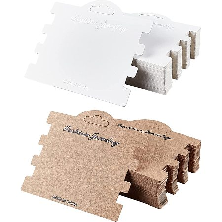 NBEADS Hair Band Display Cards, Hanging Dangle Holder Cardboard Tags, Mixed Color, 10.5x7.8x0.05cm, 2 colors, 60sheets/color, 120sheets/set
