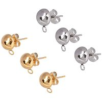 Unicraftale 304 Stainless Steel Stud Earring Findings, with Loop, Bead Container, Dome/Half Round, Golden & Stainless Steel Color, 6.8x5.2x1.1cm, 40pcs/box