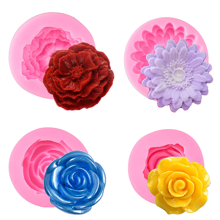 SUNNYCLUE Food Grade Silicone Molds, Fondant Molds, For DIY Cake Decoration, Chocolate, Candy, Soap, UV Resin & Epoxy Resin Jewelry Making, Rose & Peony & Flower & Stereoscopic Rose, Pink, 57x28.5mm, 46x14mm, 70x23mm, 56x13mm; 4pcs/set