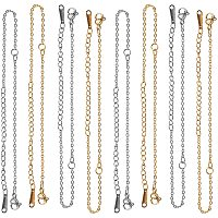 Unicraftale 201 Stainless Steel Bracelet Making, with Cable Chain and Lobster Claw Clasps, Golden & Stainless Steel Color, 5 inches~5-1/4 inches(12.7~13.4cm); 1.5mm, Hole: 1.5mm; 2colors, 5pcs/color, 10pcs/box